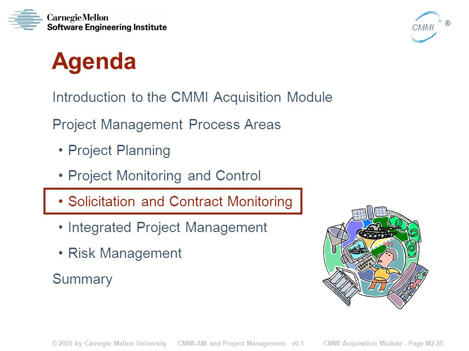 © 2005 by Carnegie Mellon University CMMI Acquisition Module - Page M2-55 CMMI ® CMMI-AM and Project Management v0.1 Agenda Introduction to the CMMI A