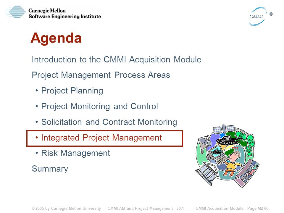 © 2005 by Carnegie Mellon University CMMI Acquisition Module - Page M2-66 CMMI ® CMMI-AM and Project Management v0.1 Agenda Introduction to the CMMI A