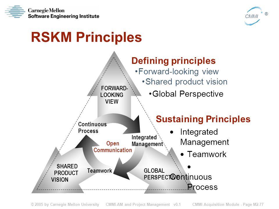 © 2005 by Carnegie Mellon University CMMI Acquisition Module - Page M2-77 CMMI ® CMMI-AM and Project Management v0.1 RSKM Principles Defining principl