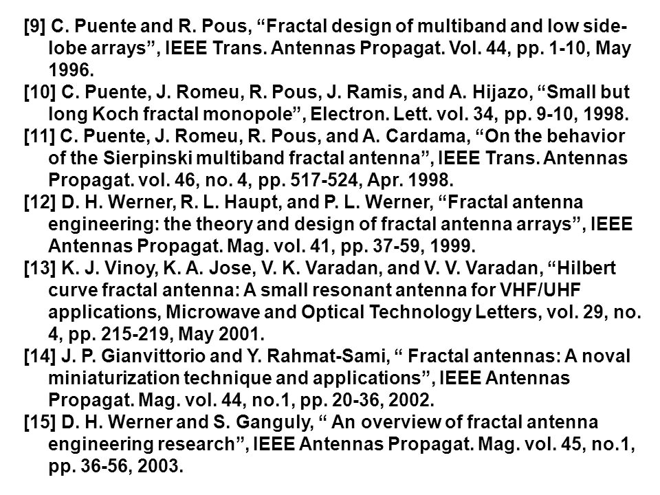 "[9] C. Puente and R. Pous, ""Fractal design of multiband and low side- lobe arrays"", IEEE Trans. Antennas Propagat. Vol. 44, pp. 1-10, May 1996. [10] C"
