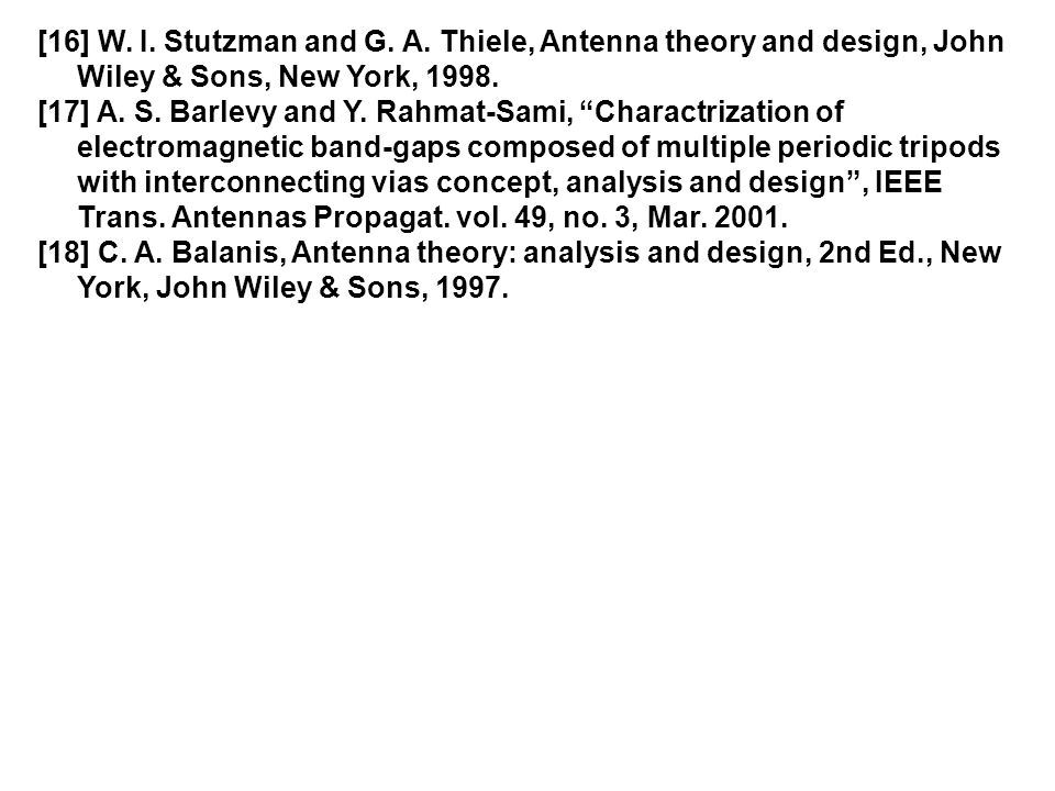 "[16] W. I. Stutzman and G. A. Thiele, Antenna theory and design, John Wiley & Sons, New York, 1998. [17] A. S. Barlevy and Y. Rahmat-Sami, ""Charactriz"
