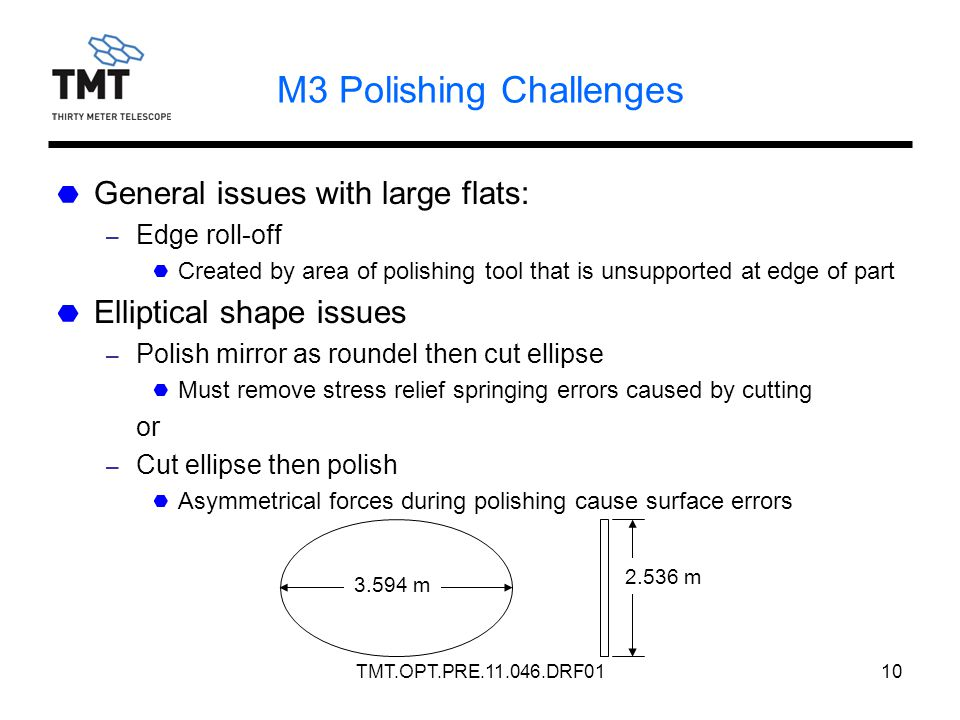 TMT.OPT.PRE.11.046.DRF0110 M3 Polishing Challenges General issues with large flats: – Edge roll-off Created by area of polishing tool that is unsupported at edge of part Elliptical shape issues – Polish mirror as roundel then cut ellipse Must remove stress relief springing errors caused by cutting or – Cut ellipse then polish Asymmetrical forces during polishing cause surface errors 3.594 m 2.536 m