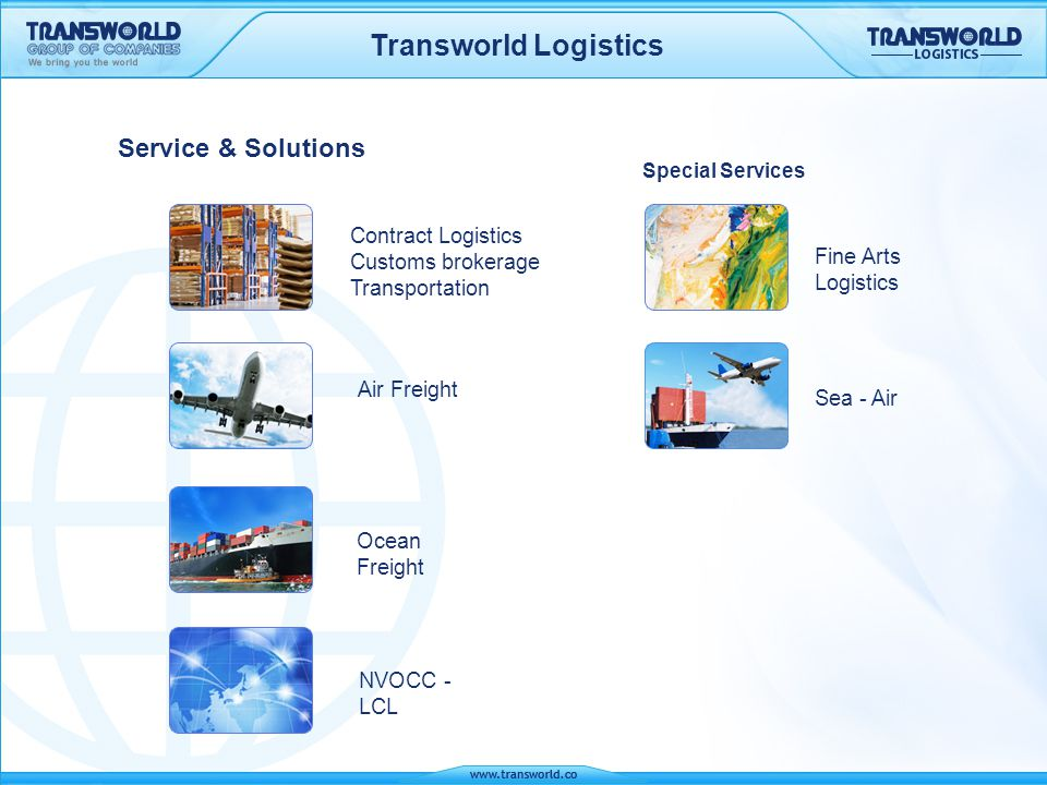Transworld Logistics Contract Logistics Multi-tier racking system 22 loading/unloading bays with hydraulic dock levellers 6000 sq mtrs open yard storage Refrigerated and temp.