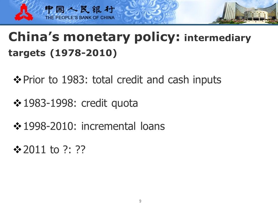 10 Money supply in China  M0 = cash in circulation  M1 = M0 + checkable demand deposit of enterprises and other entities  M2 = M1 + savings deposit of residence + term and other deposit of entities  Starting January 2010, the PBC started to compile money statistics based on local and foreign currency statistics of all financial institutions in the country according to the IMF Handbook.