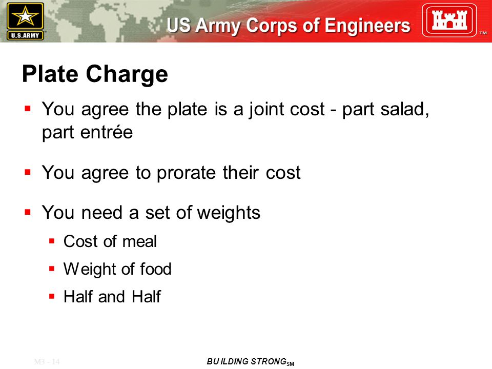 M3 - 14 BU ILDING STRONG SM Plate Charge  You agree the plate is a joint cost - part salad, part entrée  You agree to prorate their cost  You need a set of weights  Cost of meal  Weight of food  Half and Half