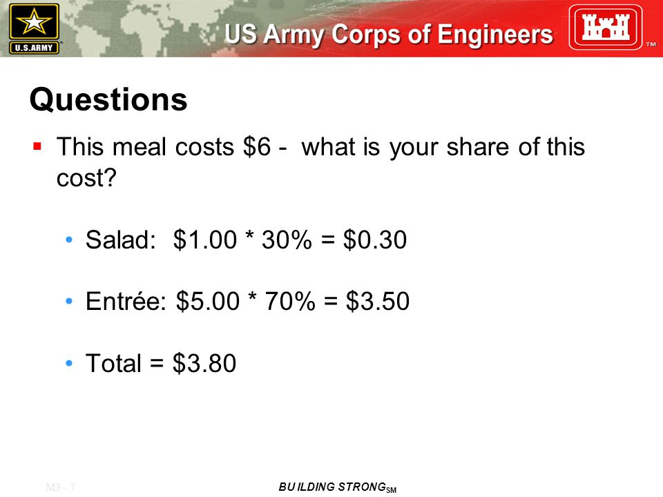 M3 - 7 BU ILDING STRONG SM Questions  This meal costs $6 - what is your share of this cost.