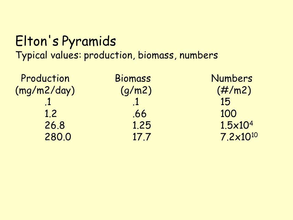 Elton s Pyramids Typical values: production, biomass, numbers Production Biomass Numbers (mg/m2/day) (g/m2) (#/m2).1.1 15 1.2.66 100 26.8 1.25 1.5x10 4 280.0 17.7 7.2x10 10