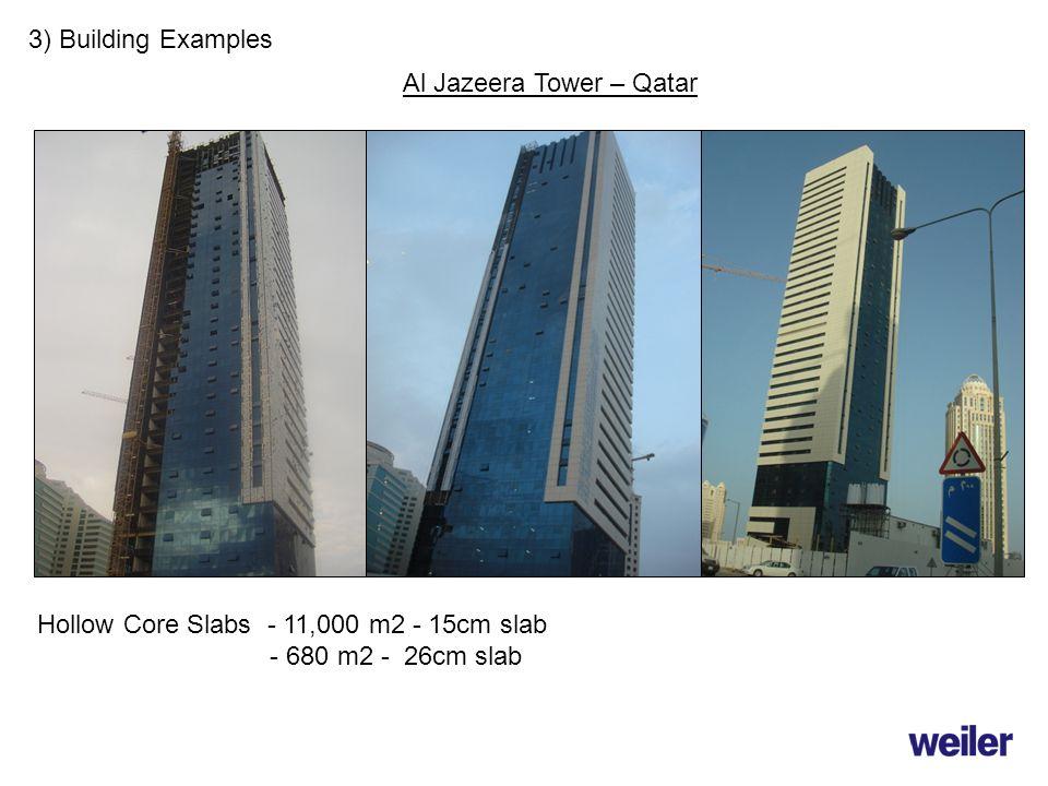 3) Building Examples Hollow Core Slabs - 11,000 m2 - 15cm slab - 680 m2 - 26cm slab Al Jazeera Tower – Qatar