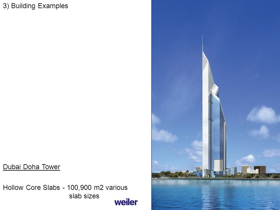 3) Building Examples Hollow Core Slabs - 100,900 m2 various slab sizes Dubai Doha Tower