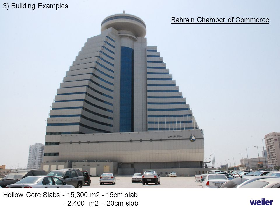 3) Building Examples Hollow Core Slabs - 15,300 m2 - 15cm slab - 2,400 m2 - 20cm slab Bahrain Chamber of Commerce