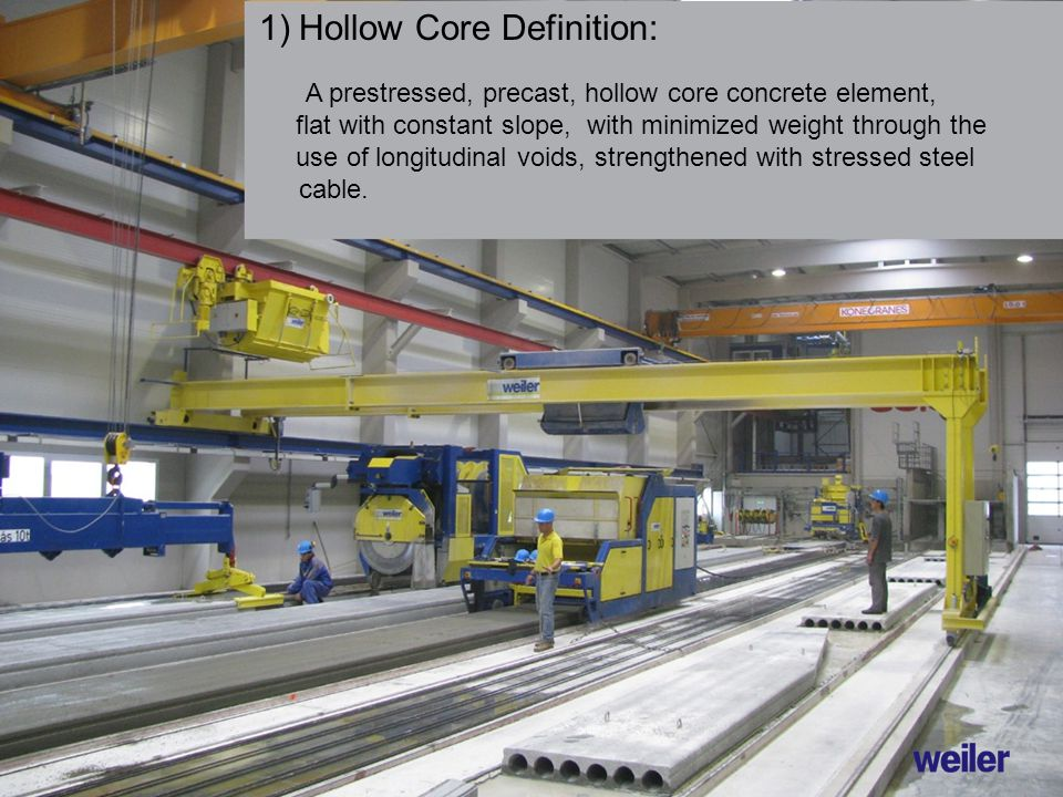 1)Hollow Core Definition: A prestressed, precast, hollow core concrete element, flat with constant slope, with minimized weight through the use of longitudinal voids, strengthened with stressed steel cable.
