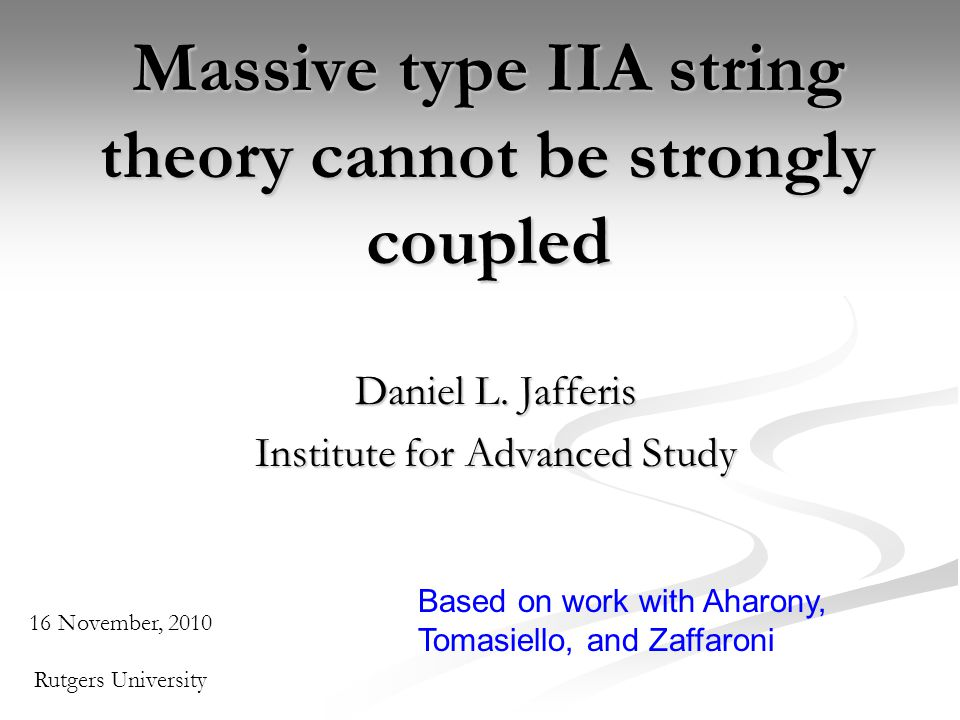 Massive type IIA string theory cannot be strongly coupled Daniel L.