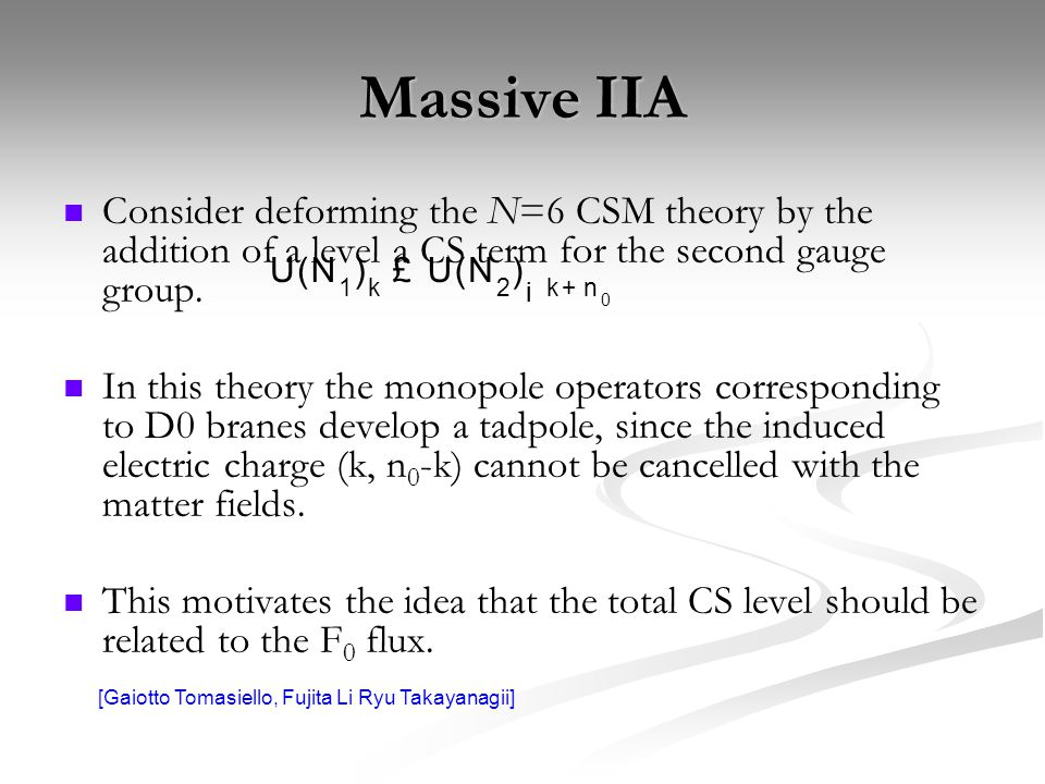 Massive IIA Consider deforming the N=6 CSM theory by the addition of a level a CS term for the second gauge group.