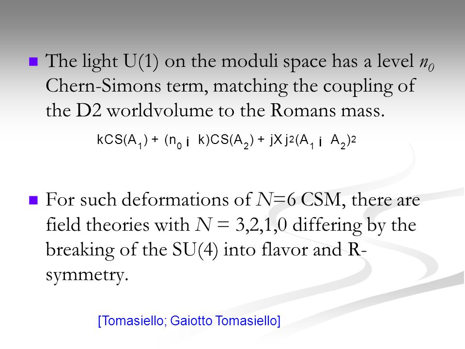 The light U(1) on the moduli space has a level n 0 Chern-Simons term, matching the coupling of the D2 worldvolume to the Romans mass.