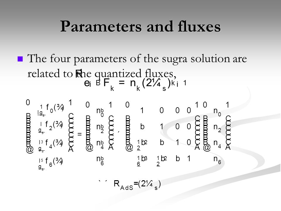 Parameters and fluxes The four parameters of the sugra solution are related to the quantized fluxes, R e ¡ B F k = n k ( 2 ¼ ` s ) k ¡ 1 ` ´ R A d S =( 2 ¼ ` s )