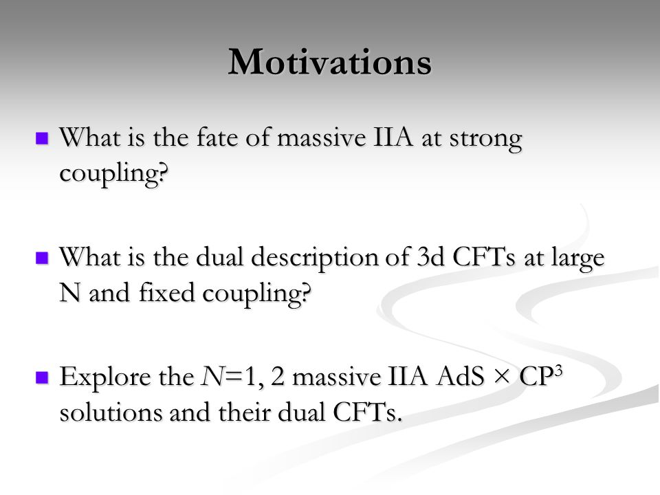 Motivations What is the fate of massive IIA at strong coupling.