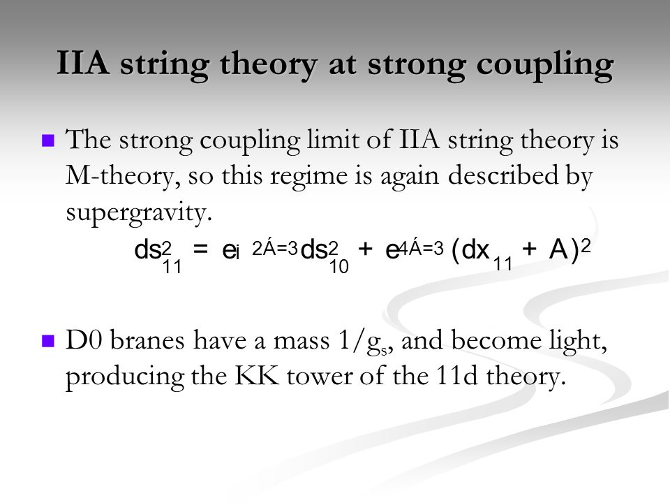 Massive IIA at strong coupling Would seem to be a lacuna in the web of string dualities.