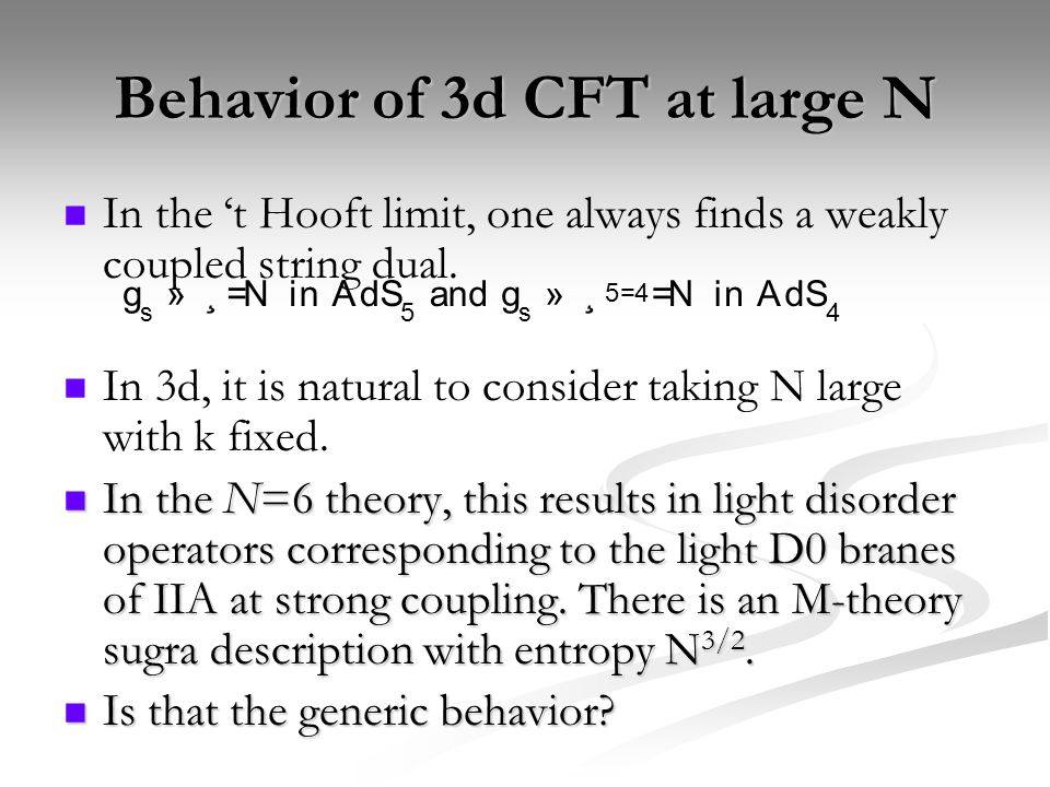 Behavior of 3d CFT at large N In the 't Hooft limit, one always finds a weakly coupled string dual.