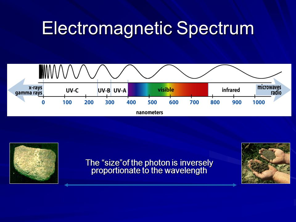 Electromagnetic Spectrum The size of the photon is inversely proportionate to the wavelength The size of the photon is inversely proportionate to the wavelength