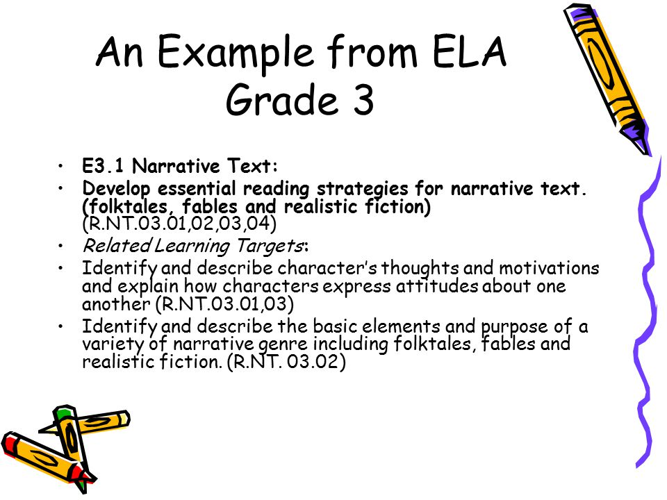 Example from ELA Grade 3 Explain how authors use literary devices (prediction, personification, point of view, setting etc.) (R.NT.03.04) Identify story level themes, main idea and lesson/moral.