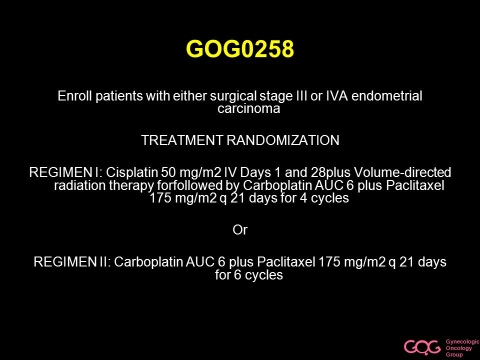 Gynecologic Oncology Group GOG0258 Objectives –Recurrence free survival –Survival –Adverse effects Stats –28% decrease recurrence/death –61% > 70% 3 yr RFS –N = 804