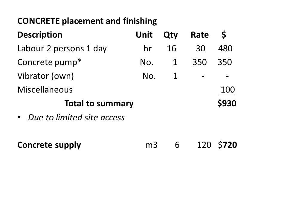 CONCRETE placement and finishing Description Unit Qty Rate $ Labour 2 persons 1 day hr 16 30 480 Concrete pump* No.