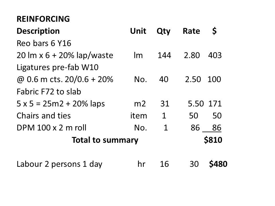 REINFORCING Description Unit Qty Rate $ Reo bars 6 Y16 20 lm x 6 + 20% lap/waste lm 144 2.80 403 Ligatures pre-fab W10 @ 0.6 m cts.