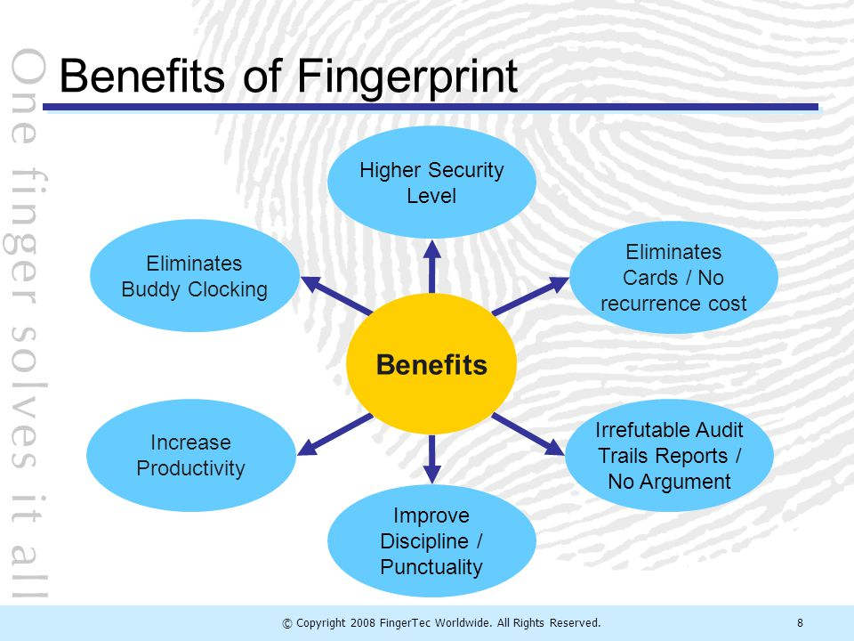 © Copyright 2008 FingerTec Worldwide. All Rights Reserved.8 Benefits of Fingerprint Improve Discipline / Punctuality Higher Security Level Increase Pr