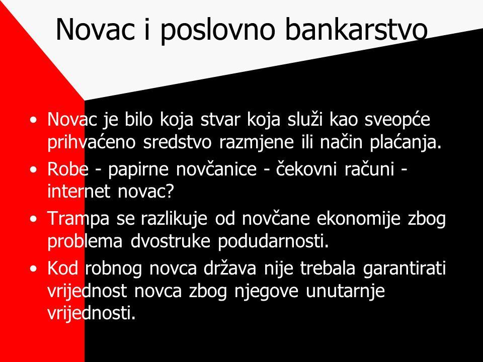 Novac i poslovno bankarstvo Novac je bilo koja stvar koja služi kao sveopće prihvaćeno sredstvo razmjene ili način plaćanja. Robe - papirne novčanice