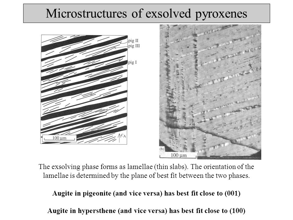 Exsolution phenomena in pyroxenes No time for (Mg, Fe)-Ca diffusion, therefore no exsolution.