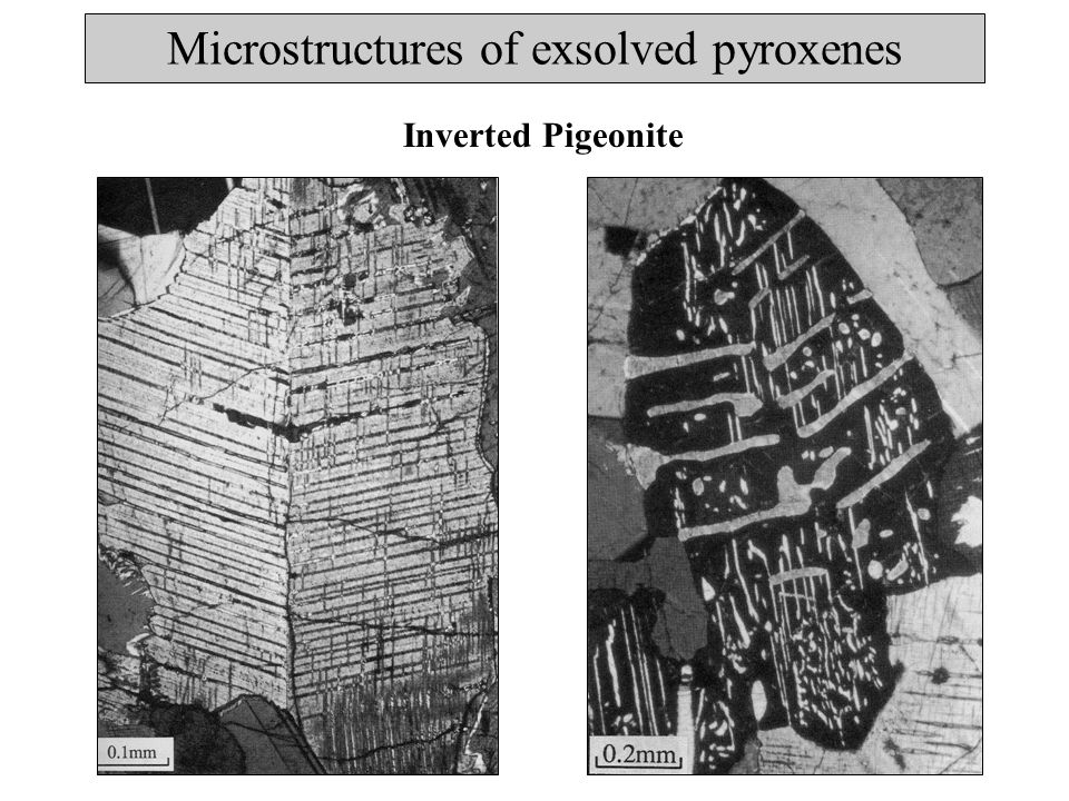 Microstructures of exsolved pyroxenes