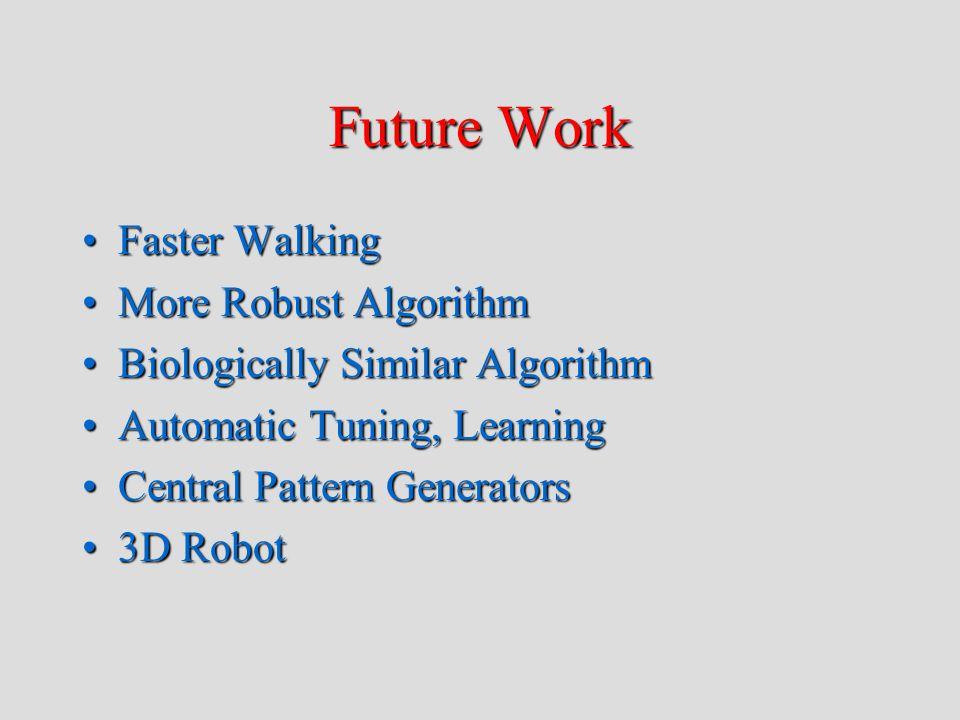 Future Work Faster WalkingFaster Walking More Robust AlgorithmMore Robust Algorithm Biologically Similar AlgorithmBiologically Similar Algorithm Automatic Tuning, LearningAutomatic Tuning, Learning Central Pattern GeneratorsCentral Pattern Generators 3D Robot3D Robot