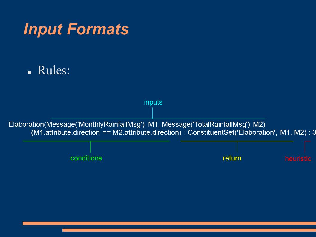 Input Formats Rules: Elaboration(Message( MonthlyRainfallMsg ) M1, Message( TotalRainfallMsg ) M2) (M1.attribute.direction == M2.attribute.direction) : ConstituentSet( Elaboration , M1, M2) : 3 inputs conditionsreturn heuristic