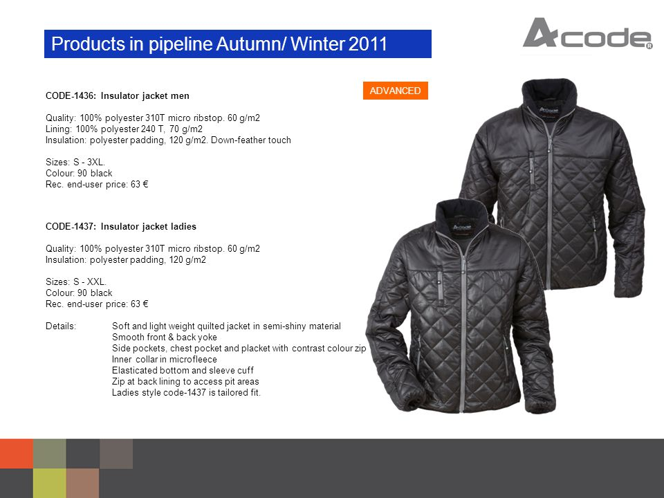 Products in pipeline Autumn/ Winter 2011 CODE-1436: Insulator jacket men Quality: 100% polyester 310T micro ribstop.
