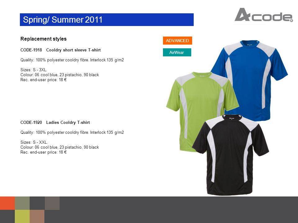 Spring/ Summer 2011 Replacement styles CODE-1919 Cooldry long sleeve T-shirt Quality: 100% polyester cooldry fibre.
