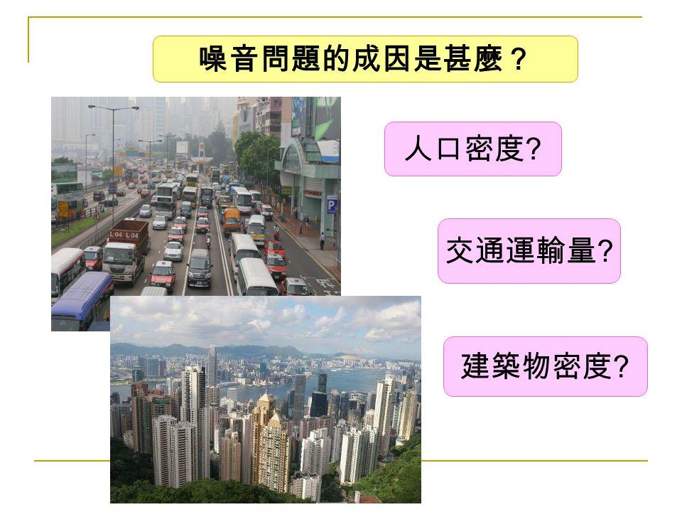 噪音問題的成因是甚麼? 人口密度 交通運輸量 建築物密度