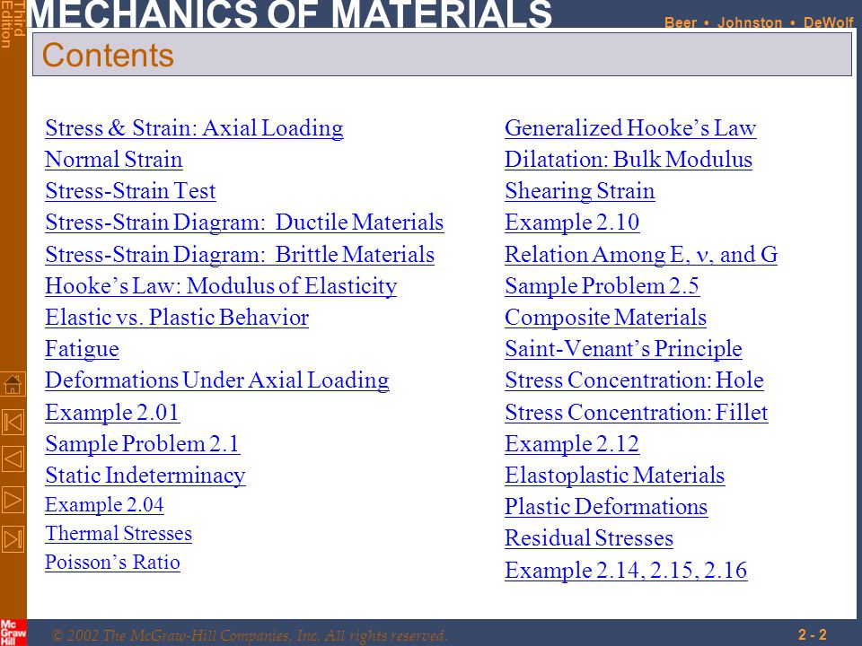 © 2002 The McGraw-Hill Companies, Inc. All rights reserved. MECHANICS OF MATERIALS ThirdEdition Beer Johnston DeWolf 2 - 2 Contents Stress & Strain: A