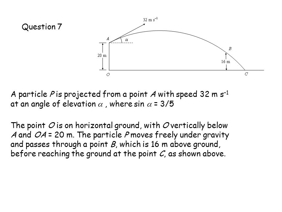 Question 7 A particle P is projected from a point A with speed 32 m s –1 at an angle of elevation , where sin  = 3/5 The point O is on horizontal ground, with O vertically below A and OA = 20 m.