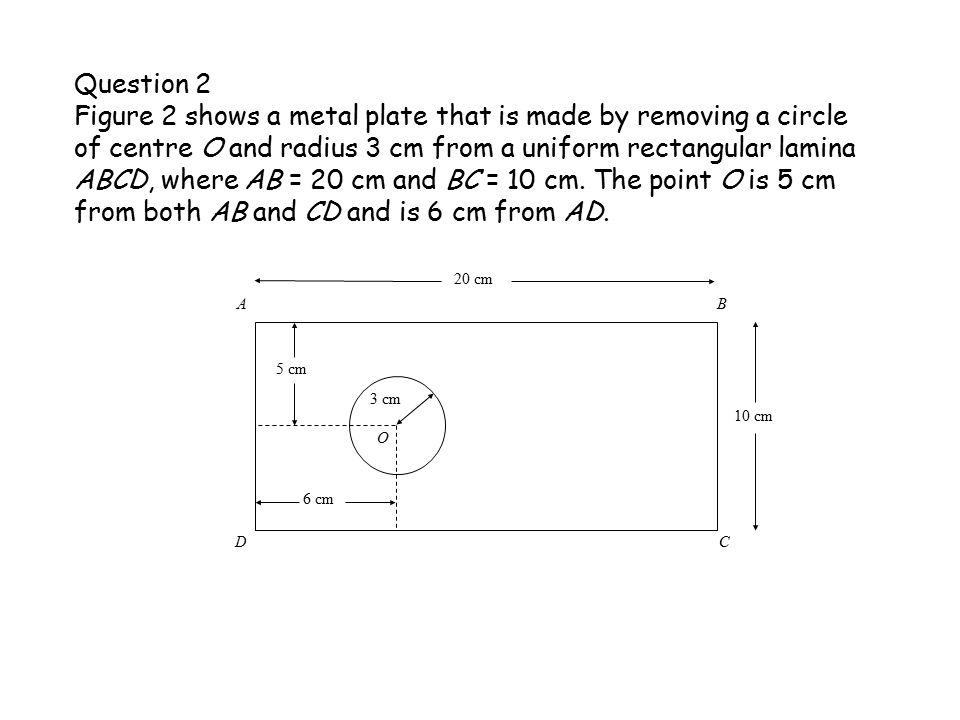 Question 2 Figure 2 shows a metal plate that is made by removing a circle of centre O and radius 3 cm from a uniform rectangular lamina ABCD, where AB = 20 cm and BC = 10 cm.