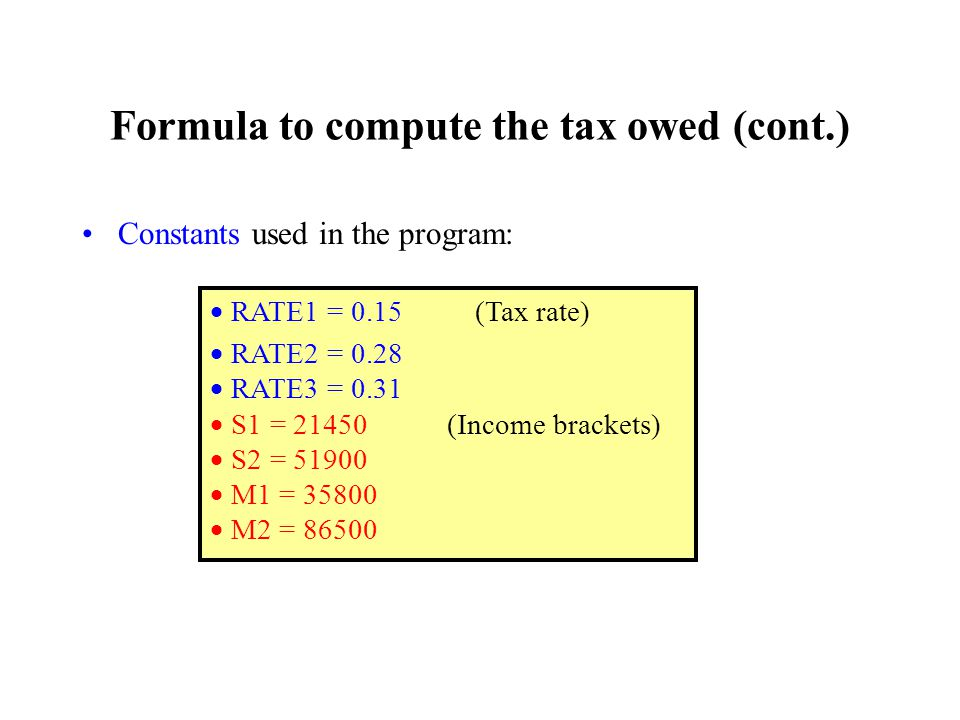 Formula to compute the tax owed (cont.) Constants used in the program:  RATE1 = 0.15 (Tax rate)  RATE2 = 0.28  RATE3 = 0.31  S1 = (Income brackets)  S2 =  M1 =  M2 = 86500