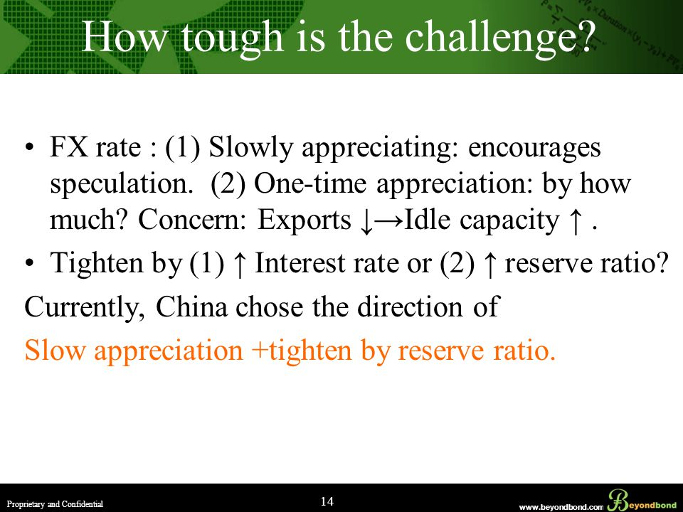 www.beyondbond.com Proprietary and Confidential 14 How tough is the challenge.