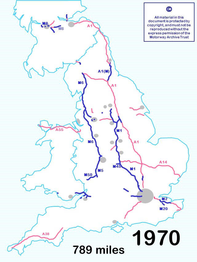 789 miles © All material in this document is protected by copyright, and must not be reproduced without the express permission of the Motorway Archive Trust M6 M1 A1 A14 M6 A55 M8 A1 A38 M8 M50 M2 M20 M45 A1(M) M5 1970