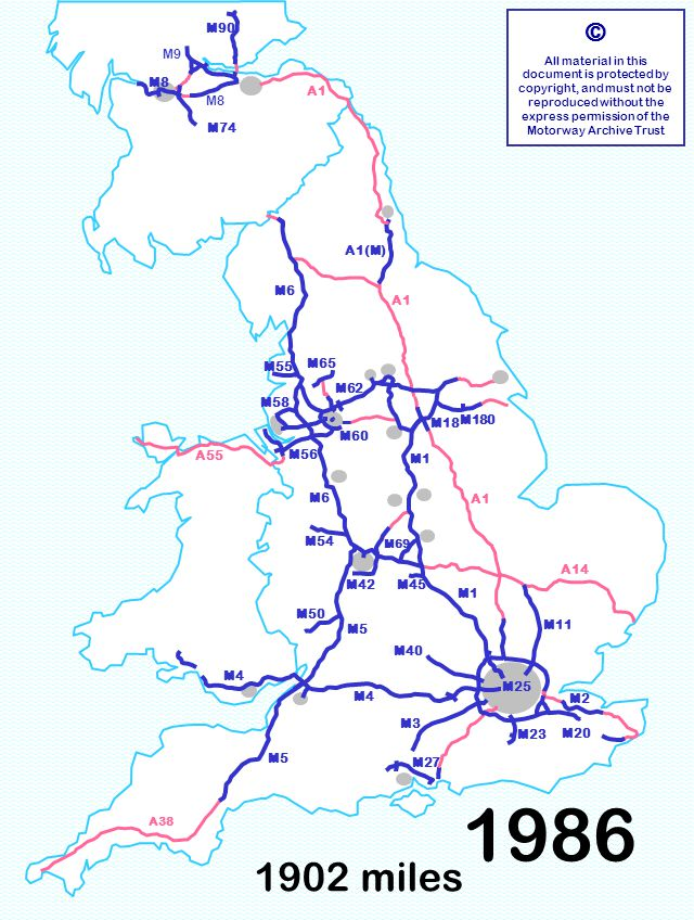M5 M40 M42M45 M60 M58 1902 miles © All material in this document is protected by copyright, and must not be reproduced without the express permission of the Motorway Archive Trust M3 M6 M1 M11 M40 M5 M1 A1 A14 M6 A55 M23 M180 M55 M60 M18 M90 M8 A1 A38 M4 M8 M9 M50 M54 M56 M65 M62 M27 M58 M4 M69 M2 M20 M74 M5 M42M45 M25 A1(M) 1986