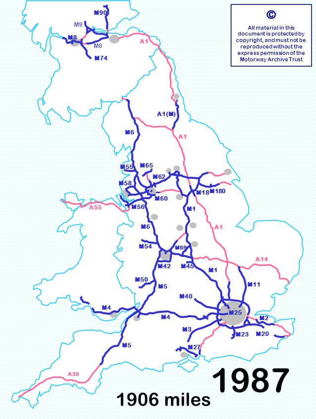 M5 M40 M42M45 M60 M18 M58 M90 1906 miles © All material in this document is protected by copyright, and must not be reproduced without the express permission of the Motorway Archive Trust M3 M6 M1 M11 M40 M5 M1 A1 A14 M6 A55 M23 M180 M55 M60 M18 M90 M8 A1 A38 M4 M8 M9 M50 M54 M56 M65 M62 M27 M58 M4 M69 M2 M20 M74 M5 M42M45 M25 A1(M) 1987