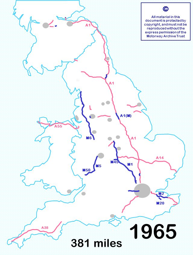 M6 381 miles © All material in this document is protected by copyright, and must not be reproduced without the express permission of the Motorway Archive Trust M6 M1 A1 A14 A55 A1 M50 M2 M20 M5 M45 A1(M) A38 1965