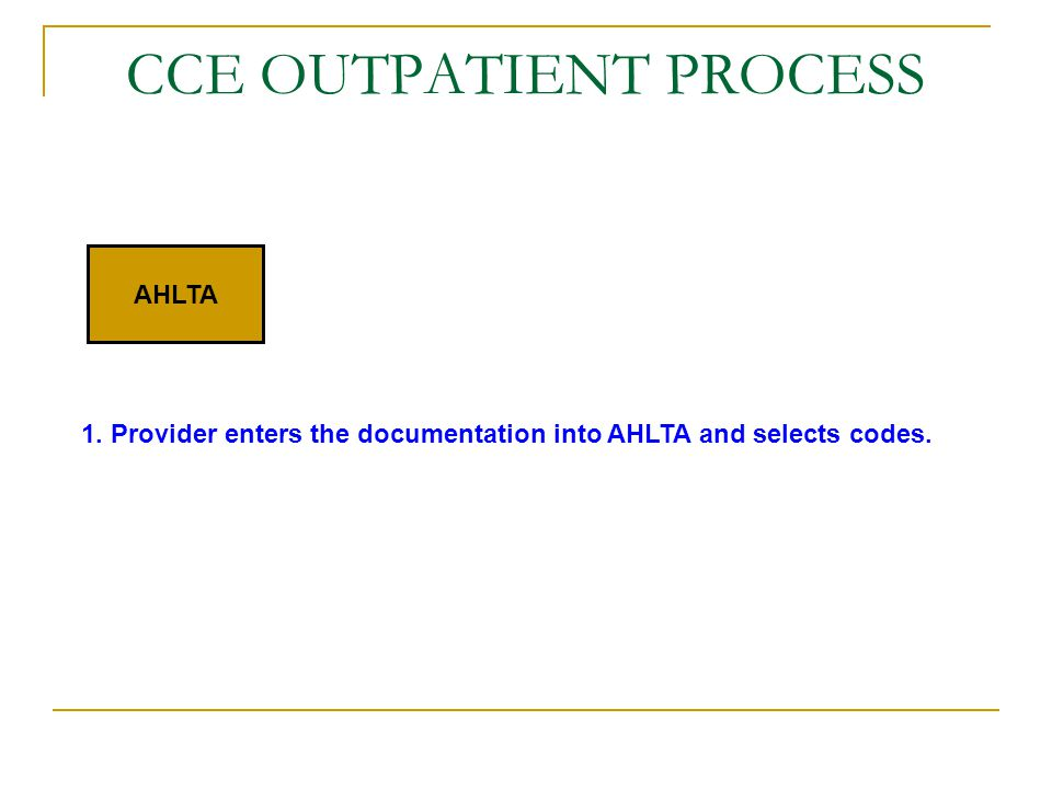 CCE OUTPATIENT PROCESS AHLTA 1. Provider enters the documentation into AHLTA and selects codes.
