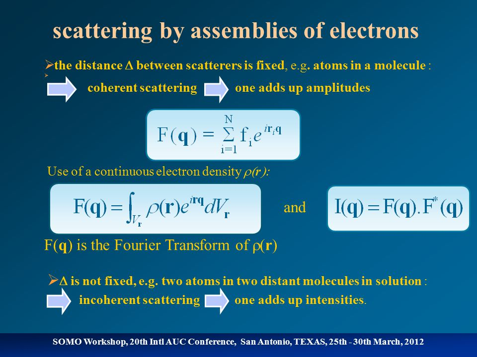 scattering by assemblies of electrons  the distance  between scatterers is fixed, e.g.