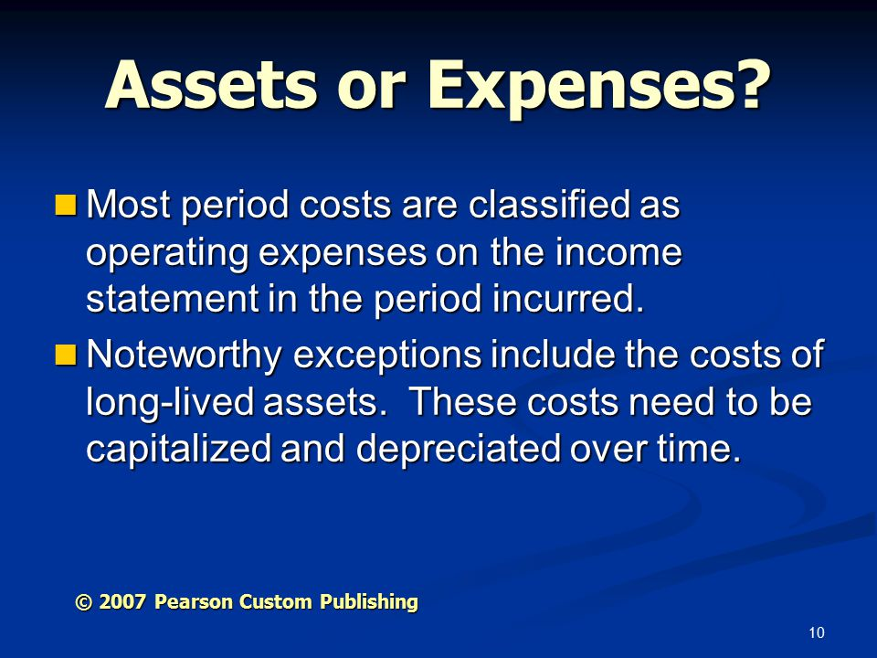 10 Assets or Expenses.