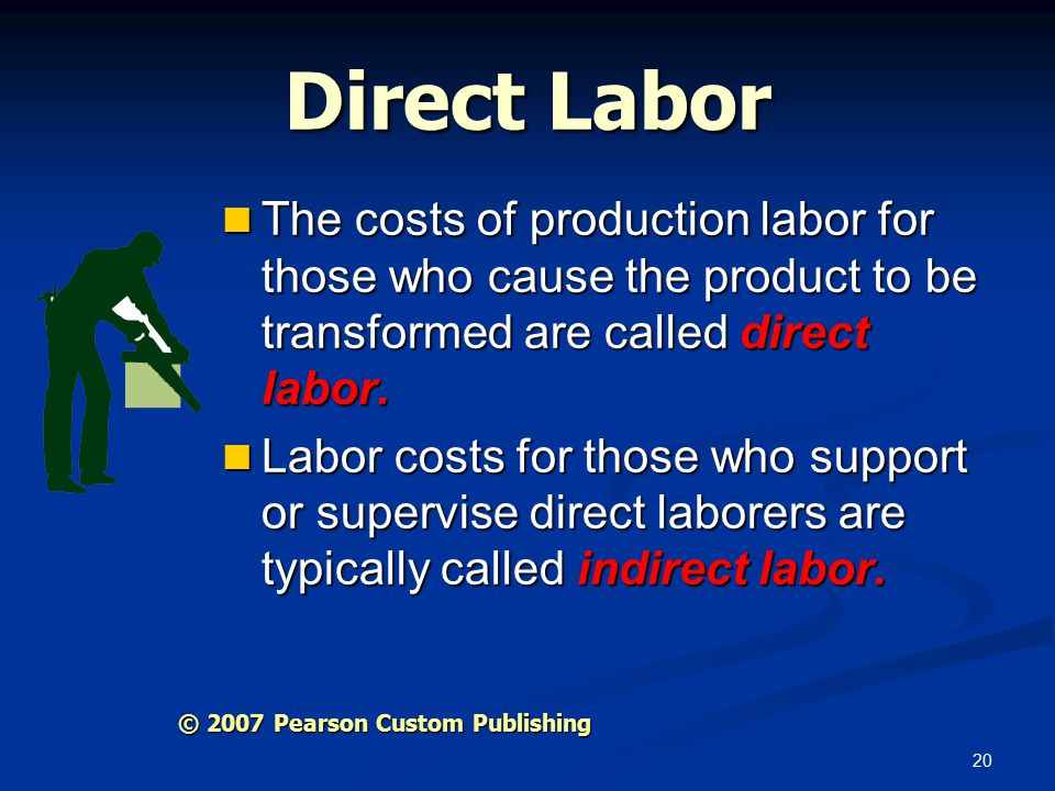 20 Direct Labor The costs of production labor for those who cause the product to be transformed are called direct labor.