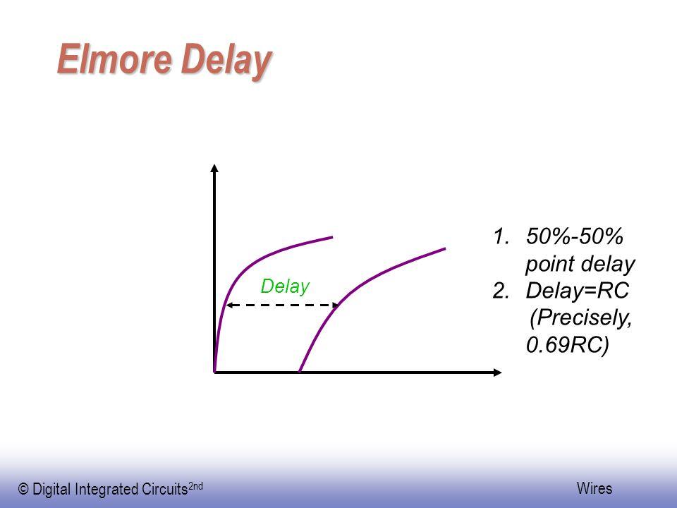 EE141 © Digital Integrated Circuits 2nd Wires Elmore Delay Delay 1.50%-50% point delay 2.Delay=RC (Precisely, 0.69RC)